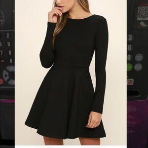 NWT Lulu's Forever Chic Black Skater Dress XS